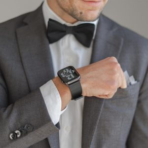 Caasel-AW-black-full-grain-leather-band-with-an-elegant-outfit