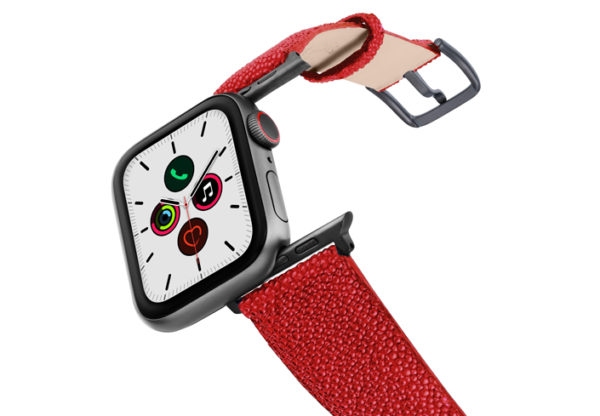 Maldives-AW-red-stingray-leather-band-on-air-space-grey-adapters