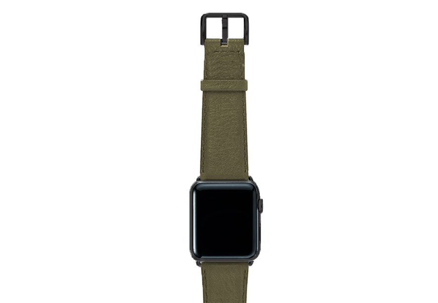Musk-green-nappa-band-on-top-with-stainless-black-adaptors