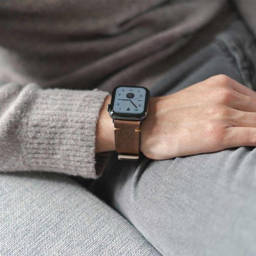 Old_Brown-Apple-watch--vintage-calf-leather-band-close-up-on-sofa