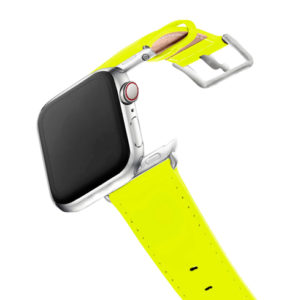 laser-lemon-Apple-watch-fluo-yellow-band-with-stainless-steel-case-on-air