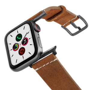 Cordwood-Apple-Watch-brown-heritage-leather-band-on-air-space-grey-adapters