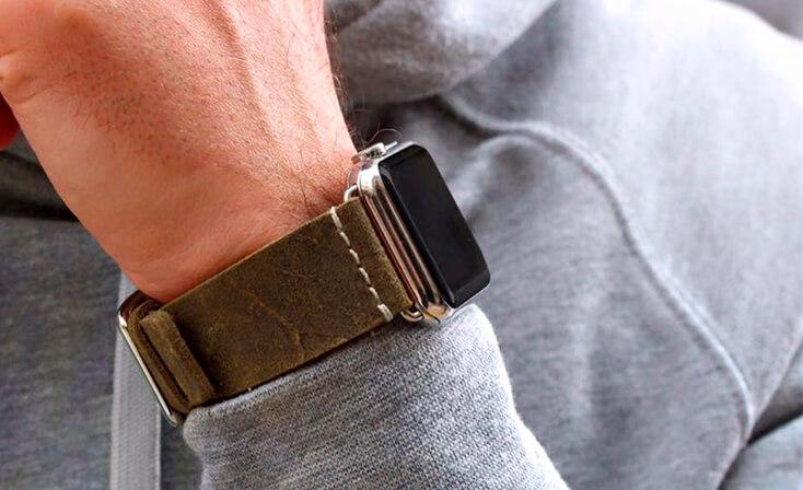 khakisun-green-heritage-Apple-watch-leather-band-sportwear