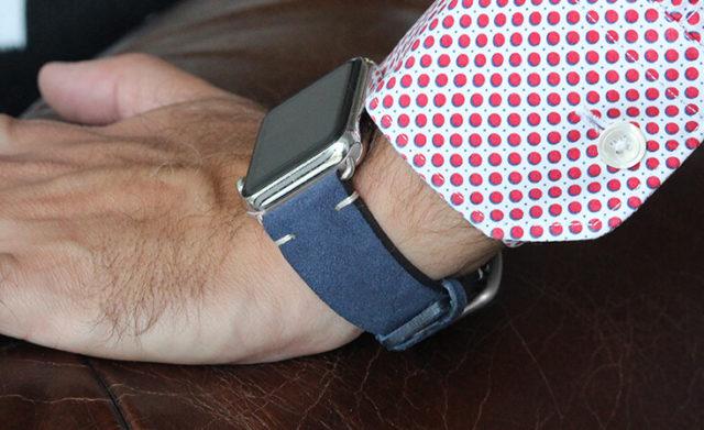 Blue-suede-Apple-watch-band-denim-man
