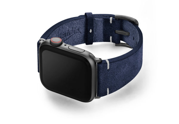 Ocean-Floor-AW-blue-suede-leather-band-with-case-on-left