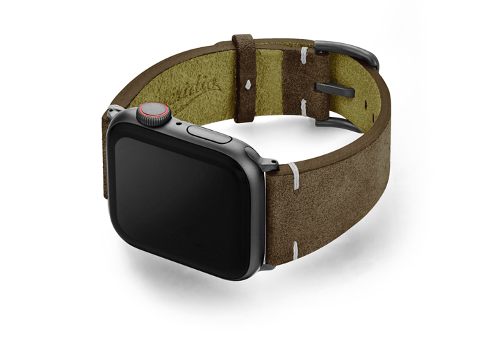 Southern-Pine-AW-green-suede-leather-band-with-case-on-left