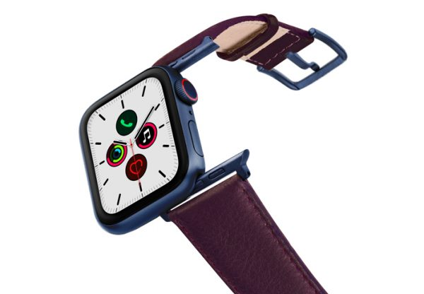Burgundy-AW-nappa-band-on-air-with-blue-adapters