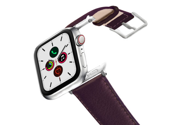 Burgundy-AW-nappa-leather-band-stainless-steel-case-on-air
