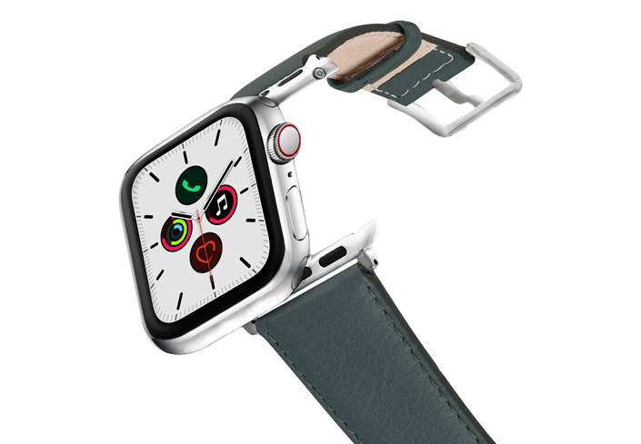 Denim-AW-nappa-leather-band-stainless-steel-case-on-air