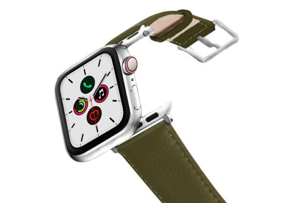 Musk-AW-green-nappa-leather-band-stainless-steel-case-on-air
