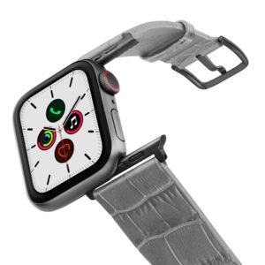 Intercostal-Apple-watch-grey-genuine-leather-band-on-air-space-grey-adapters