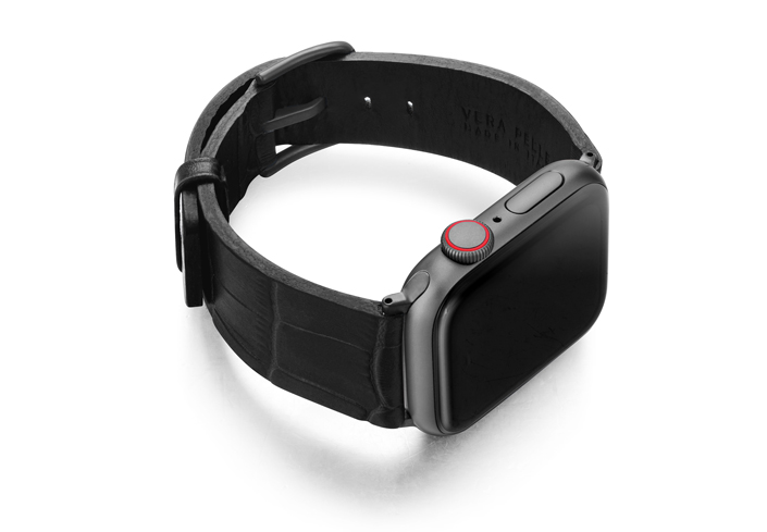 Pitch-black-Apple-watch-black-genuine-leather-band-left-case