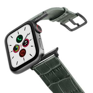 Shamrock-Apple-watch-green-genuine-leather-band-on-air-space-grey-adapa