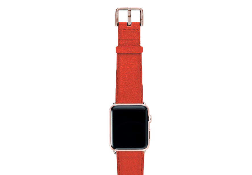 Coral-red-nappa-band-on-top-with-aluminium-gold-adaptors