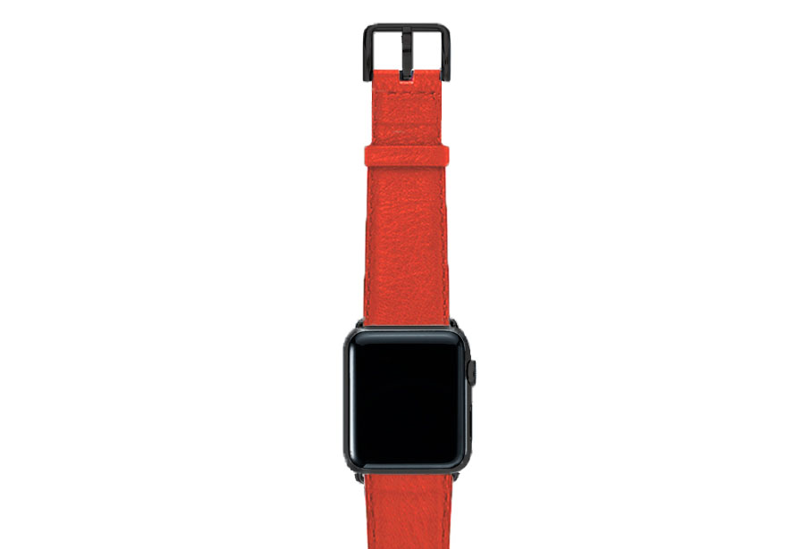 Coral-red-nappa-band-on-top-with-stainless-black-adaptors