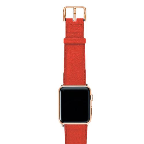 Coral-red-nappa-band-on-top-with-stainless-gold-adaptors