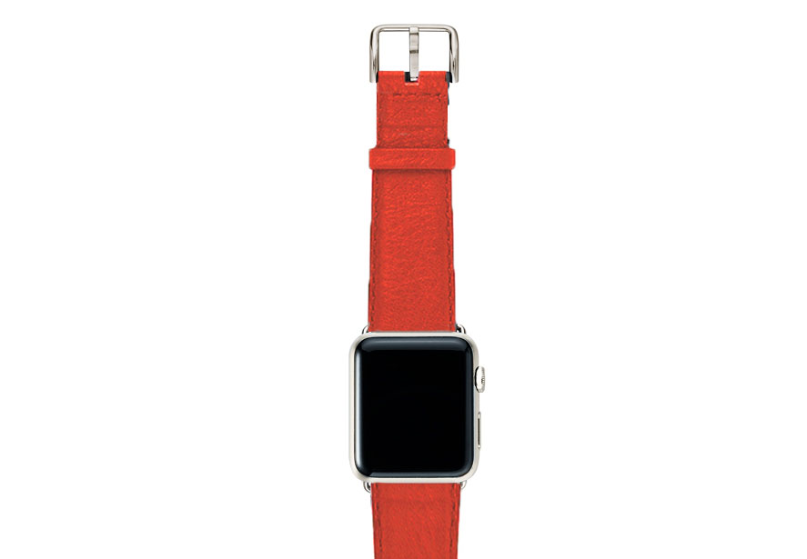 Coral-red-nappa-band-on-top-with-stainless-steel-adaptors
