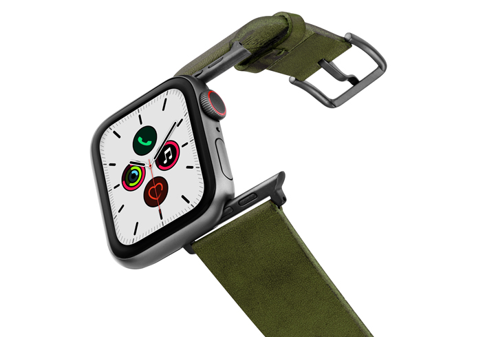 Deep-Leaf-Apple-watch-green-genuine-leather-band-on-air-space-grey-adapters