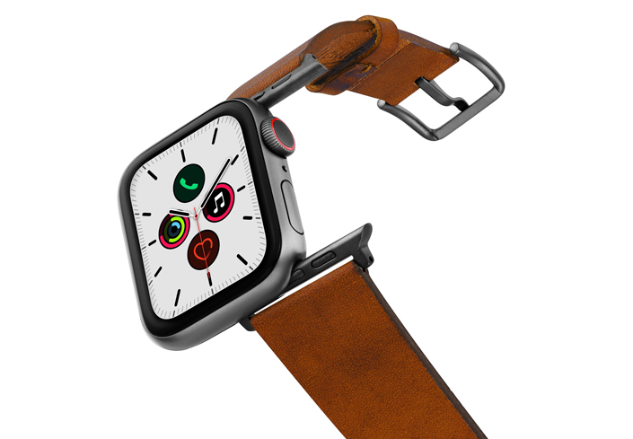Tawny-Apple-watch-light-brown-genuine-leather-band-on-air-space-grey-adapters