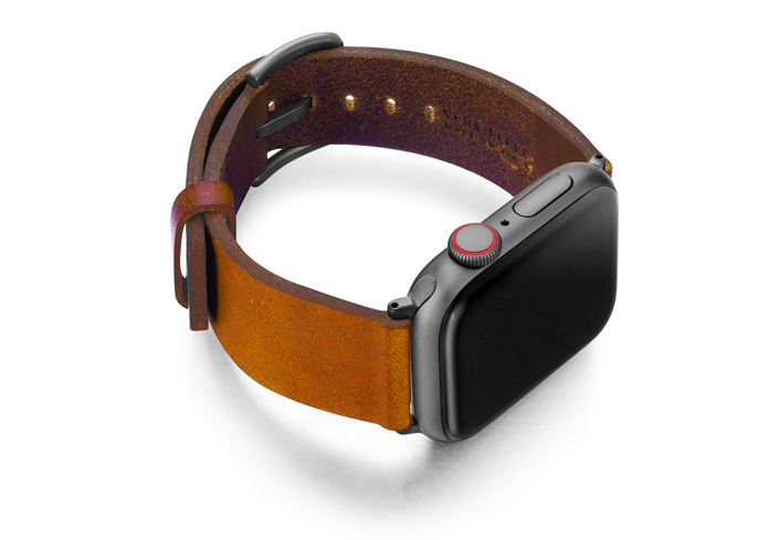 Tawny-Apple-watch-light-brown-genuine-leather-band-with-case-on-right