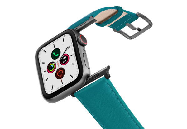 Turquoise-Apple-watch-nappa-band-on-air-space-grey-adapters