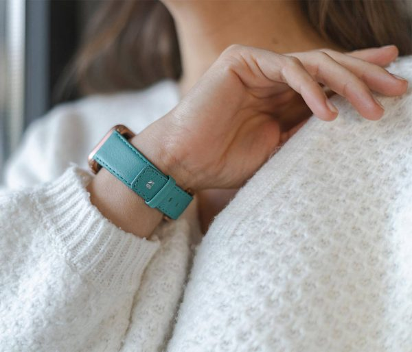 Turquoise-Apple-watch-nappa-calf-leather-band-close-up-on-monogram