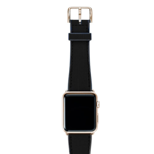 CAOUTCHOUC_black_BAND-WITH-stainless-gold-adaptors