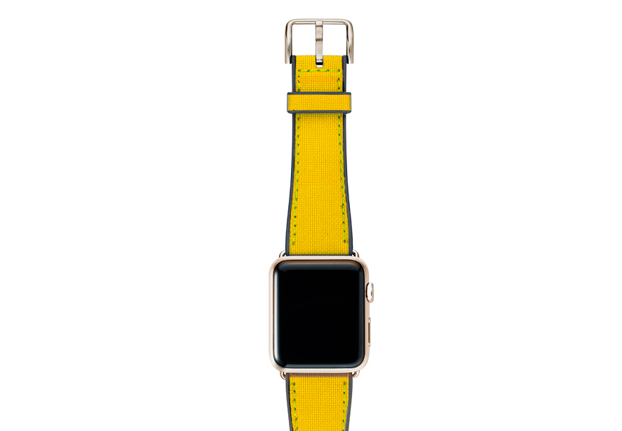 CAOUTCHOUC_yellow-BAND-WITH-stainless-gold-adaptors