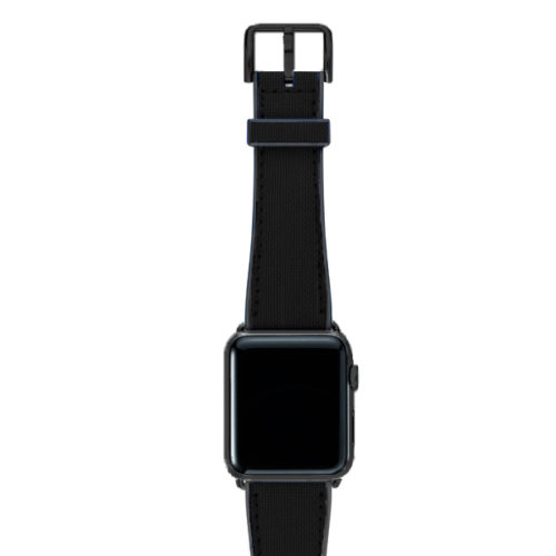 Gloomy-Apple-watch-black-natural-rubber-strap-with-black-steel-case