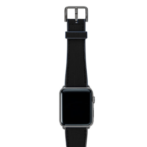 Gloomy-Apple-watch-black-natural-rubber-strap-with-space-grey-case