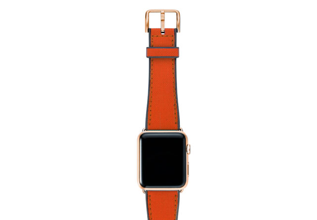 Lobster-Apple-watch-red-natural-rubber-strap-with-gold-series-3-case
