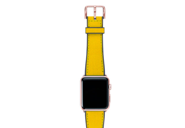 Submarine-Apple-watch-yellow-natural-rubber-strap-with-rose-gold-case