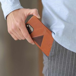 Barrel-iPhone-12-pro-max-light-brown-leather-case-kepping-out-from-own-pocket