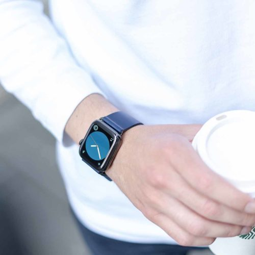 Blue-England-full-grain-leather-band-keeps-to-AW-with-blue-watch-face
