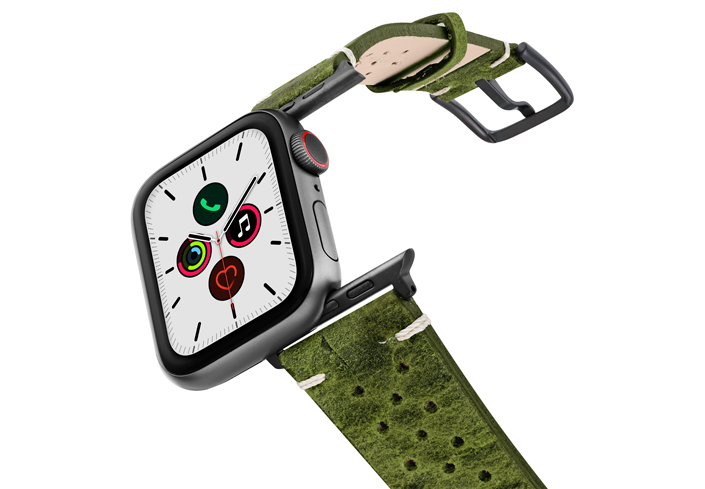 Hope-AW-green-calf-leather-band-on-air-space-grey-adapters