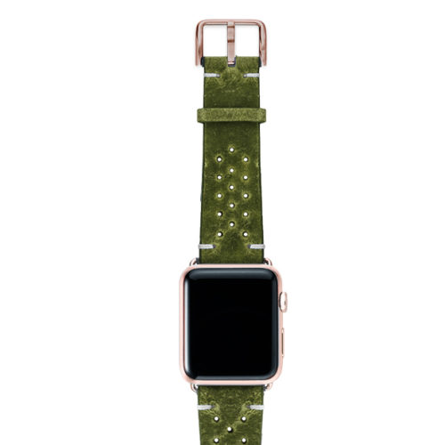 Hope-AW-green-calf-leather-band-with-holes-with-case-alum-gold-series4