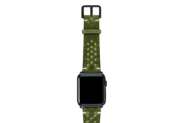 Hope-AW-green-calf-leather-band-with-holes-with-case-black