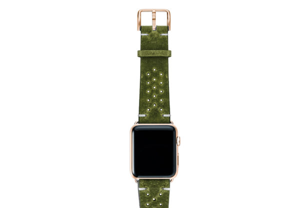 Hope-AW-green-calf-leather-band-with-holes-with-case-gold-series3