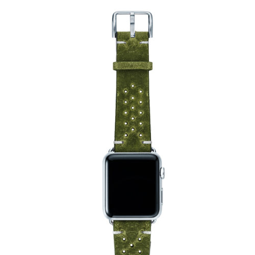 Hope-AW-green-calf-leather-band-with-holes-with-case-silver