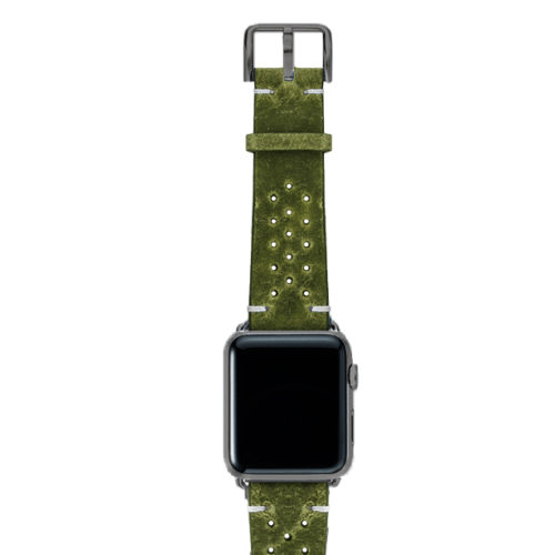 Hope-AW-green-calf-leather-band-with-holes-with-case-space-grey