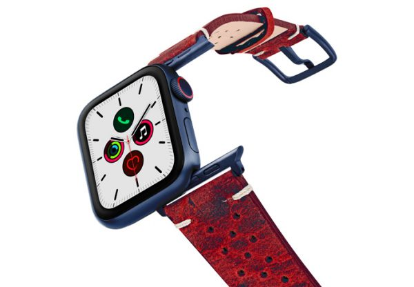Promise-AW-red-calf-leather-band-on-air-space-blue-adapters