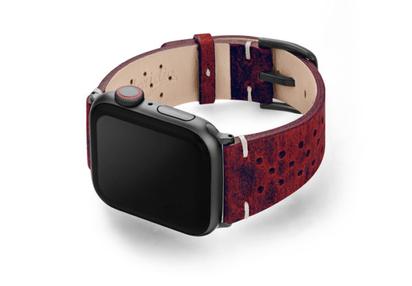 Promise-AW-red-calf-leather-band-with-holes-and-case-on-left