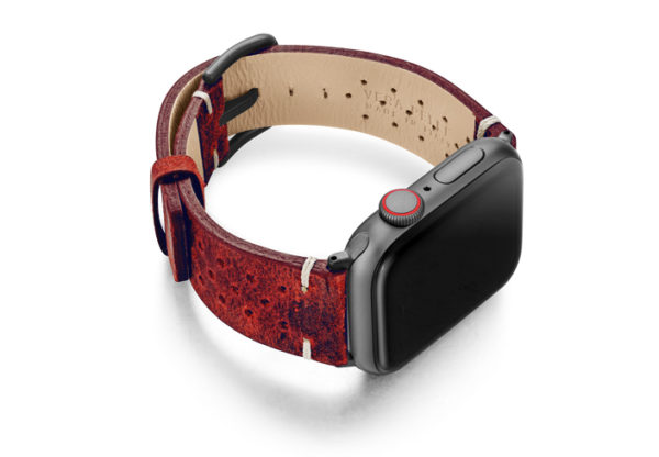 Promise-AW-red-calf-leather-band-with-holes-and-case-on-right
