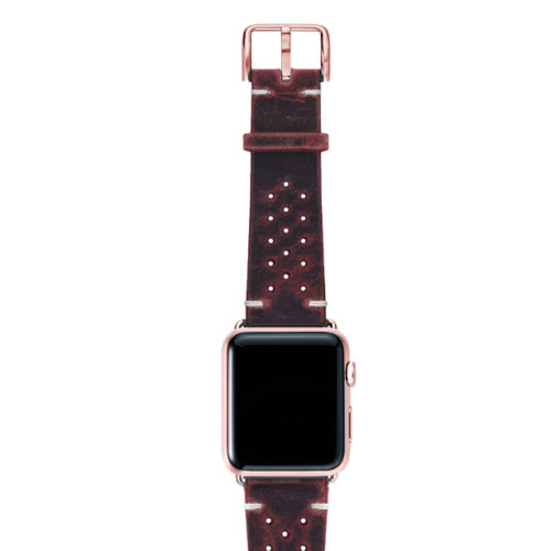 Promise-AW-red-calf-leather-band-with-holes-and-case-rose-gold