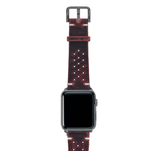 Promise-AW-red-calf-leather-band-with-holes-and-case-space-grey