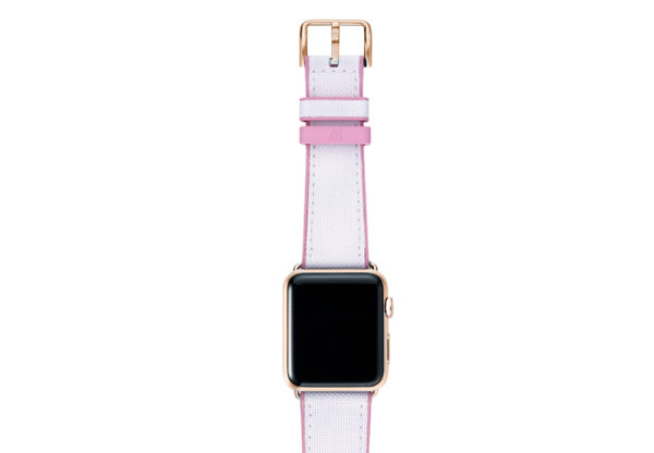 Pink Sand AW white rubber band on top of gold series 3 case