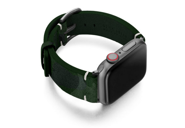 Green-Guerilla-Apple-watch-green-camouflage-leather-band-with-disaply-on-right