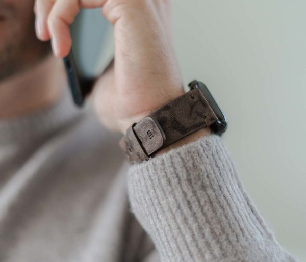 Deep-Fossil-AW-brown-ancient-leather-band-with-monogram-for-him