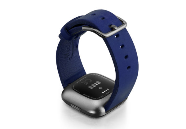 Blue-England-Fitbit-Watch-full-grain-leather-band-with-carbon-aluminium-back-case