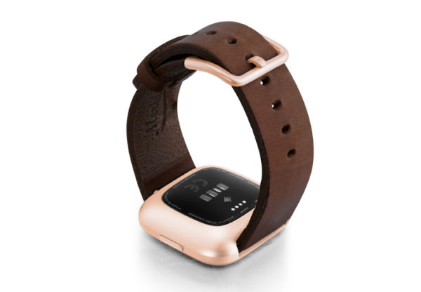 Burnt-Fitbit-Watch-deep-brown-full-grain-leather-band-with-rose-aluminium-back-case